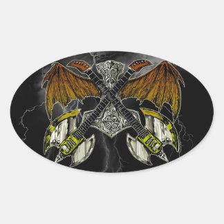 Martillo del Thor de las guitarras de dioses Pegatina Ovalada