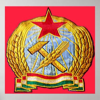 Martillo, hoz, estrella soviética y bandera de Hun Póster