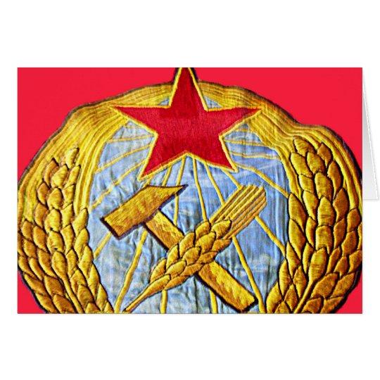 Martillo, hoz y estrella soviética tarjeta de felicitación