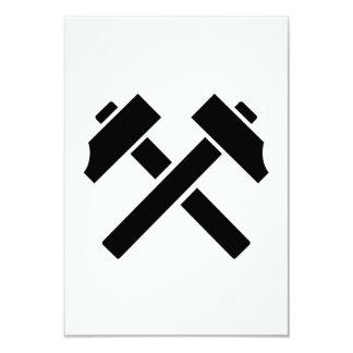 """Martillo negro cruzado invitación 3.5"""" x 5"""""""