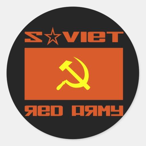 Martillo soviético y hoz del ejército rojo etiquetas redondas