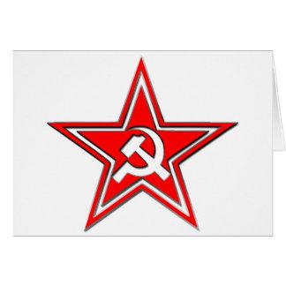 Martillo y hoz con la estrella tarjeta de felicitación