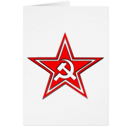 Martillo y hoz con la estrella tarjetas