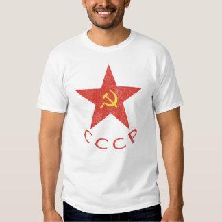 Martillo y hoz de CCCP en camiseta roja de la Polera