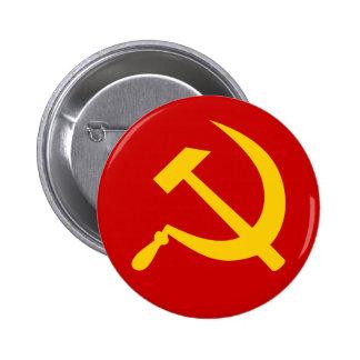Martillo y hoz rusos comunistas de URSS Pin Redondo De 2 Pulgadas