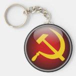 Martillo y hoz rusos soviéticos llavero redondo tipo pin