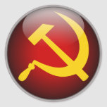 Martillo y hoz rusos soviéticos pegatina redonda