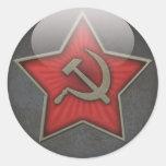 Martillo y hoz soviéticos de la estrella etiqueta