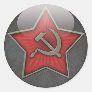 Martillo y hoz soviéticos de la estrella pegatina redonda