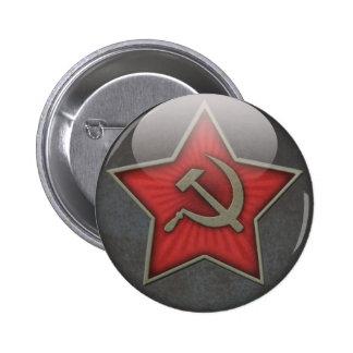 Martillo y hoz soviéticos de la estrella pin redondo de 2 pulgadas