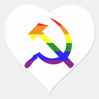 Martillo y hoz soviéticos del arco iris del pegatina en forma de corazón