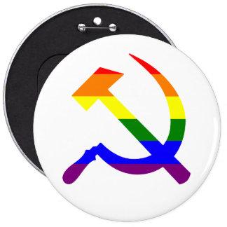 Martillo y hoz soviéticos del arco iris pin redondo de 6 pulgadas