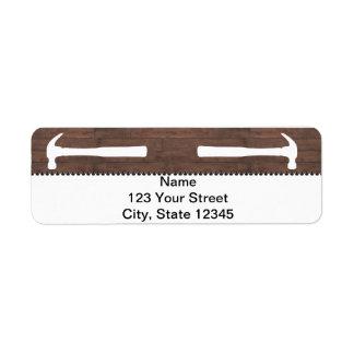 Martillos y construcción de los clavos etiqueta de remitente