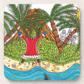 Martin and the desert island paradise beverage coaster