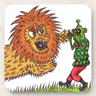 Martin and the lion beverage coaster