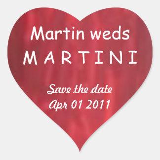 Martin casa Martini - reserva del amor la fecha Pegatina En Forma De Corazón