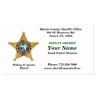 Martin County Sheriff's Office Bussiness Card. Business Card
