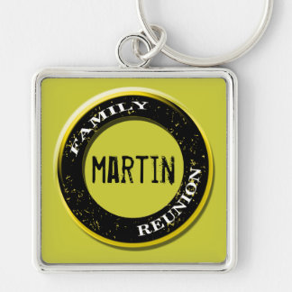 """Martin"" Family Reunion - Yellow Square Keychain"