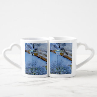 Martin House in Winter Couples' Coffee Mug Set