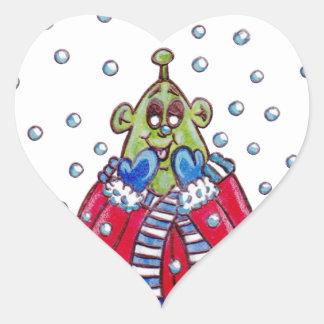 Martin in the Snow Heart Sticker