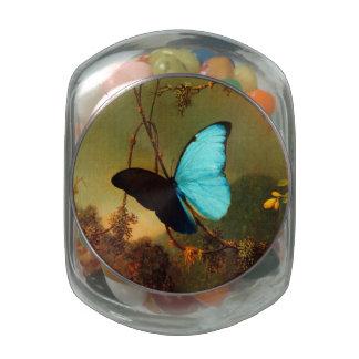 Martin Johnson Heade Blue Morpho Butterfly Glass Candy Jar