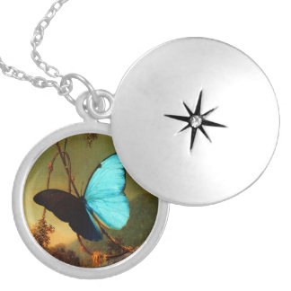 Martin Johnson Heade Blue Morpho Butterfly Silver Plated Necklace