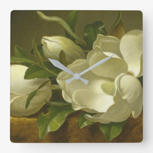 Martin Johnson Heade - Magnolias On Gold Velvet Square Wall Clock