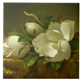 Martin Johnson Heade - Magnolias on Gold Velvet Tile