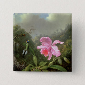 Martin Johnson Heade Orchid And Hummingbirds Button