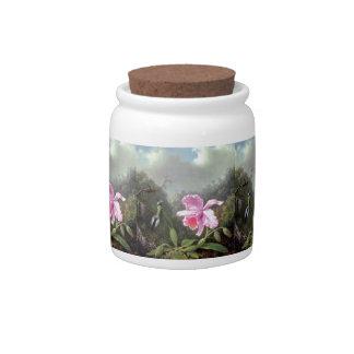 Martin Johnson Heade Orchid And Hummingbirds Candy Jar