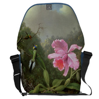 Martin Johnson Heade Orchid And Hummingbirds Courier Bag