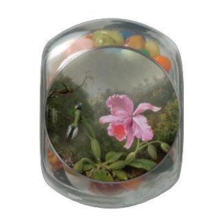 Martin Johnson Heade Orchid And Hummingbirds Glass Candy Jar