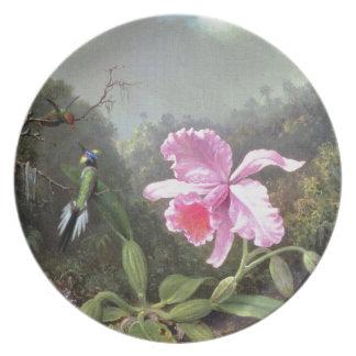 Martin Johnson Heade Orchid And Hummingbirds Melamine Plate