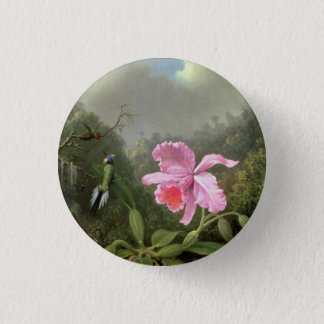 Martin Johnson Heade Orchid And Hummingbirds Pinback Button