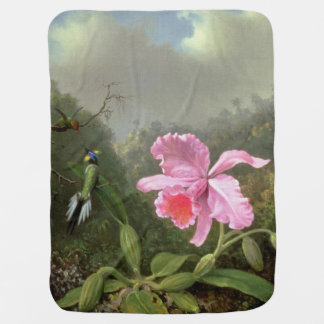 Martin Johnson Heade Orchid And Hummingbirds Receiving Blanket