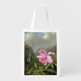 Martin Johnson Heade Orchid And Hummingbirds Reusable Grocery Bag