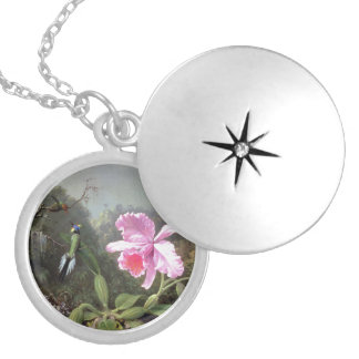 Martin Johnson Heade Orchid And Hummingbirds Silver Plated Necklace