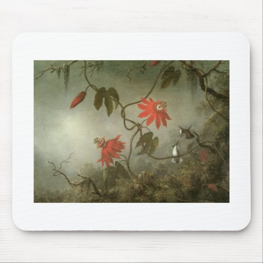 Martin Johnson Heade Passion Flowers and Hummingbi Mouse Pad