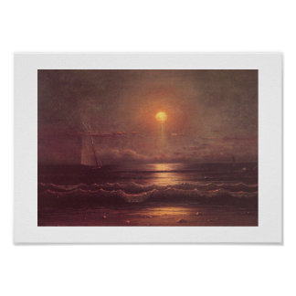 Martin Johnson Heade -Sailing by Moonlight Poster