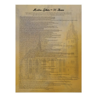 Martin Luther 95 Theses and Wittenberg Church Poster