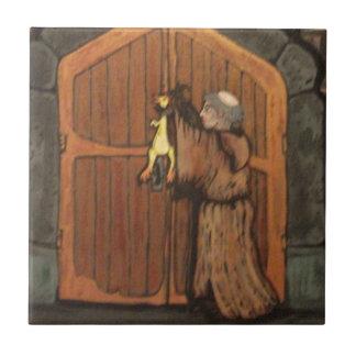 Martin Luther clava el pollo de goma a la puerta d Azulejo Cuadrado Pequeño