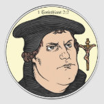 Martin Luther confessing Christ crucified sticker