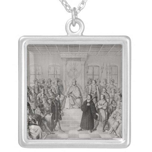 Martin Luther delante de Charles V Colgante Cuadrado