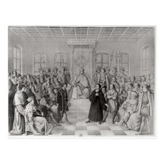 Martin Luther delante de Charles V Tarjeta Postal