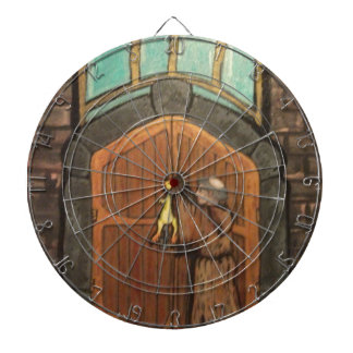 Martin Luther nails rubber chicken to church door Dartboard With Darts