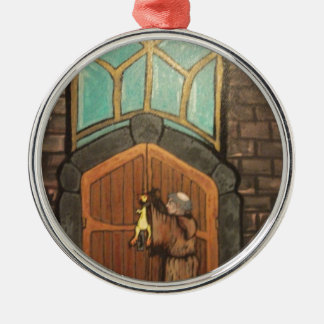 Martin Luther nails rubber chicken to church door Metal Ornament