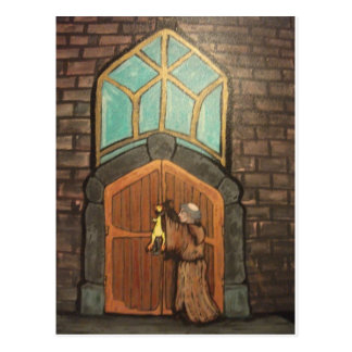 Martin Luther nails rubber chicken to church door Postcard