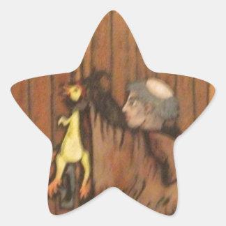 Martin Luther nails rubber chicken to church door Star Sticker