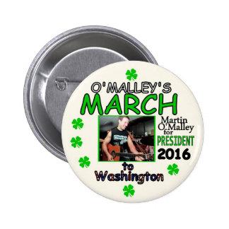 Martin O'Malley para el presidente 2016 Pin Redondo 5 Cm