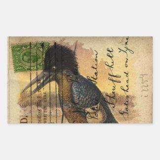 Martín pescador de la postal pegatina rectangular